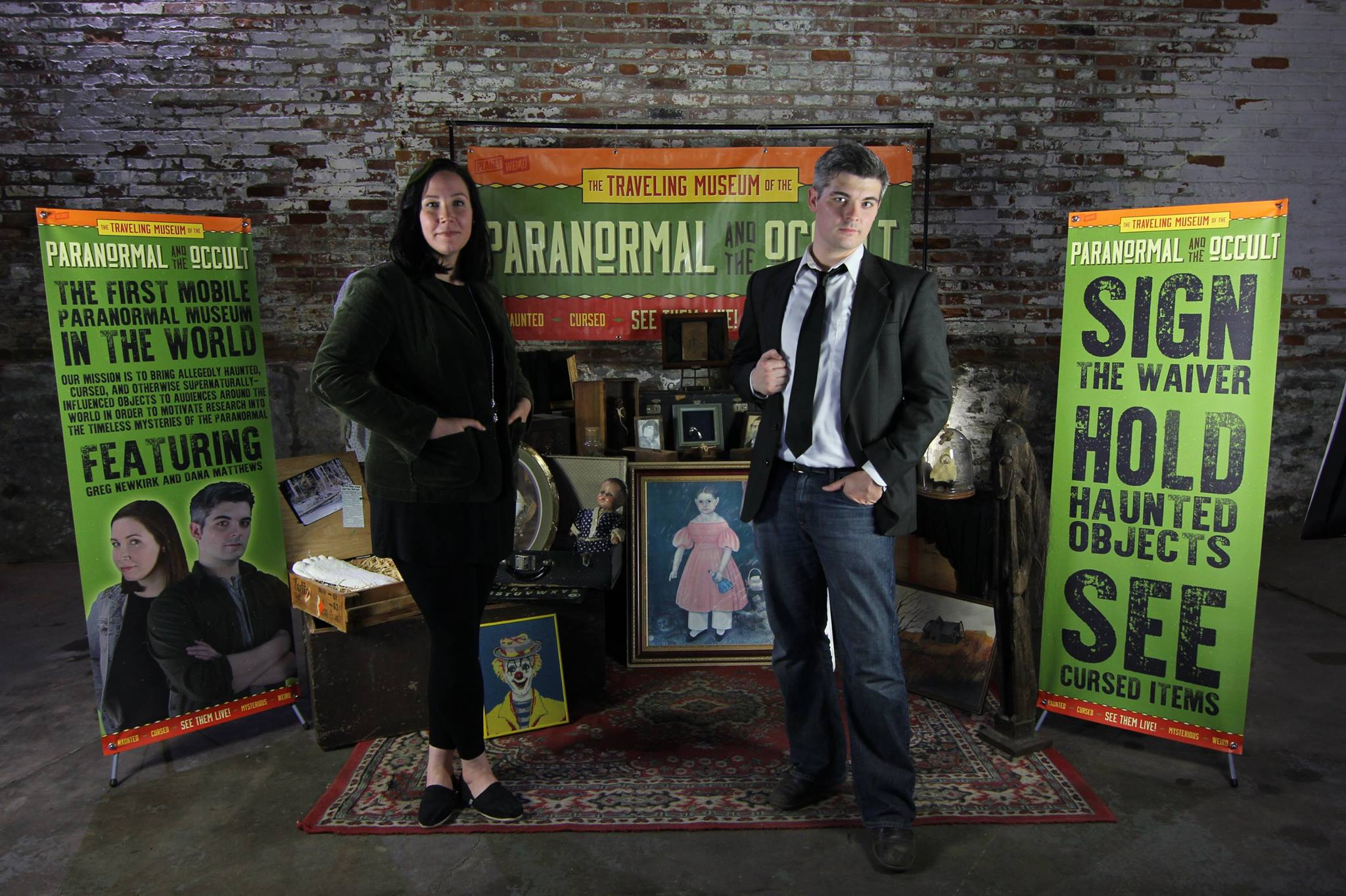 Greg Newkirk and Dana Matthews with the Traveling Museum of the Paranormal & Occult